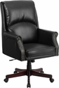 High Back Pillow Back Black Leather Executive Swivel Chair with Arms [BT-9025H-2-GG]