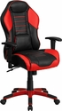 High Back Rossa Corsa Red Vinyl Executive Swivel Office Chair with Inner-Coil Spring Comfort Seat and Red Base [CP-B329A02-RED-GG]