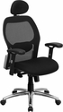 High Back Black Super Mesh Executive Swivel Chair with Knee Tilt Control and Adjustable Arms [LF-W42-HR-GG]