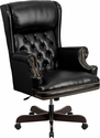 High Back Traditional Tufted Black Leather Executive Swivel Chair with Arms [CI-J600-BK-GG]