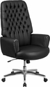 High Back Traditional Tufted Black Leather Executive Swivel Chair with Arms [BT-444-BK-GG]