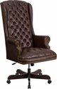 High Back Traditional Tufted Brown Leather Executive Swivel Chair with Arms [CI-360-BRN-GG]