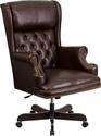 High Back Traditional Tufted Brown Leather Executive Swivel Chair with Arms [CI-J600-BRN-GG]