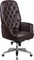 High Back Traditional Tufted Brown Leather Multifunction Executive Swivel Chair with Arms [BT-90269H-BN-GG]