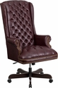 High Back Traditional Tufted Burgundy Leather Executive Swivel Chair with Arms [CI-360-BY-GG]