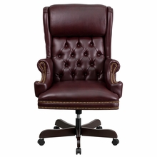 High Back Traditional Tufted Burgundy Leather Executive