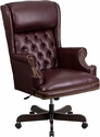 High Back Traditional Tufted Burgundy Leather Executive Swivel Chair with Arms [CI-J600-BY-GG]