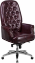 High Back Traditional Tufted Burgundy Leather Multifunction Executive Swivel Chair with Arms [BT-90269H-BY-GG]