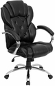 High Back Transitional Style Black Leather Executive Swivel Office Chair [GO-908A-BK-GG]