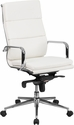 High Back White Leather Executive Swivel Office Chair with Synchro-Tilt Mechanism [BT-9895H-6-WH-GG]