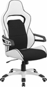 High Back White Vinyl Executive Swivel Office Chair with Black Fabric Inserts [CH-CX0713H01-GG]