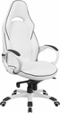 High Back White Vinyl Executive Swivel Office Chair with Black Trim [CH-CX0496H01-GG]
