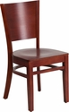 Lacey Series Solid Back Mahogany Wooden Restaurant Chair [XU-DG-W0094B-MAH-MAH-GG]