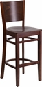 Lacey Series Solid Back Walnut Wooden Restaurant Barstool [XU-DG-W0094BAR-WAL-WAL-GG]