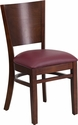 Lacey Series Solid Back Walnut Wood Restaurant Chair - Burgundy Vinyl Seat [XU-DG-W0094B-WAL-BURV-GG]