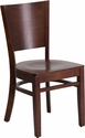 Lacey Series Solid Back Walnut Wooden Restaurant Chair [XU-DG-W0094B-WAL-WAL-GG]