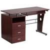 Mahogany Desk with Three Drawer Pedestal and Pull-Out Keyboard Tray [NAN-WK-008-GG]