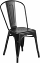 Matte Black Metal Indoor-Outdoor Stackable Chair [CH-31230-MAT-BK-GG]