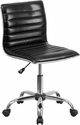 Low Back Armless Black Ribbed Designer Swivel Task Chair [DS-512B-BK-GG]