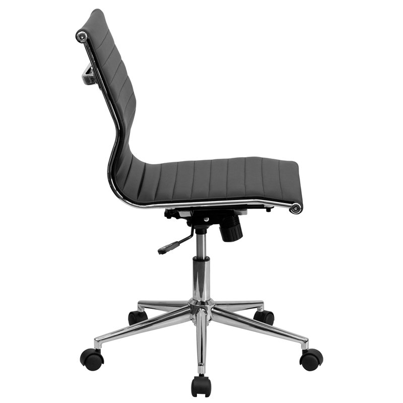 Black Leather Conference Executive Computer Office Desk Task Chair Armless