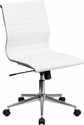 Mid-Back Armless White Ribbed Upholstered Leather Swivel Conference Chair [BT-9836M-2-WH-GG]