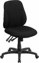 Mid-Back Black Fabric Multi-Functional Ergonomic Swivel Task Chair [BT-90297S-GG]
