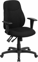 Mid-Back Black Fabric Multi-Functional Ergonomic Swivel Task Chair with Height Adjustable Arms [BT-90297M-A-GG]