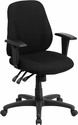 Mid-Back Black Fabric Multi-Functional Ergonomic Swivel Task Chair with Height Adjustable Arms [BT-90297S-A-GG]