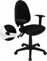Mid-Back Black Fabric Multi-Functional Swivel Task Chair with Adjustable Lumbar Support and Height Adjustable Arms [WL-A654MG-BK-A-GG]