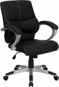 Mid-Back Black Leather Contemporary Swivel Manager's Chair [H-9637L-2-MID-GG]