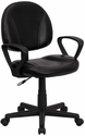 Mid-Back Black Leather Ergonomic Swivel Task Chair with Arms [BT-688-BK-A-GG]