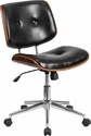 Mid-Back Black Leather Ergonomic Wood Swivel Task Chair [SD-2658-5-GG]