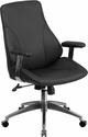 Mid-Back Black Leather Executive Swivel Office Chair [BT-90068M-GG]