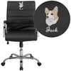 Embroidered Mid-Back Black Leather Executive Swivel Chair with Chrome Base and Arms [GO-2286M-BK-EMB-GG]