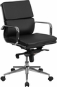 Mid-Back Black Leather Executive Swivel Office Chair with Synchro-Tilt Mechanism [BT-9895M-BK-GG]