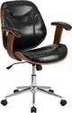 Mid-Back Black Leather Executive Wood Swivel Office Chair [SD-SDM-2235-5-BK-GG]