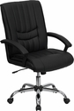 Mid-Back Black Leather Swivel Manager's Chair [BT-9076-BK-GG]