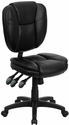 Mid-Back Black Leather Multi-Functional Ergonomic Swivel Task Chair [GO-930F-BK-LEA-GG]