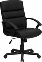 Mid-Back Black Leather Swivel Task Chair [GO-1004-BK-LEA-GG]