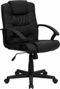 Mid-Back Black Leather Swivel Task Chair [GO-937M-BK-LEA-GG]