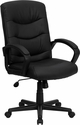 Mid-Back Black Leather Swivel Task Chair [GO-977-1-BK-LEA-GG]