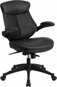 Mid-Back Black Leather Executive Swivel Office Chair with Back Angle Adjustment and Flip-Up Arms [BL-ZP-804-GG]
