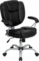 Mid-Back Black Leather Swivel Task Chair [GO-930-BK-GG]