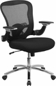 Mid-Back Black Mesh Executive Swivel Chair with Height Adjustable Flip-Up Arms [GO-WY-87-2-GG]