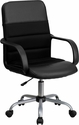 Mid-Back Black Leather and Mesh Swivel Task Chair with Arms [LF-W-61B-2-GG]