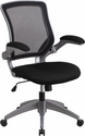 Mid-Back Black Mesh Swivel Task Chair with Gray Frame and Flip-Up Arms [BL-ZP-8805-BK-GG]