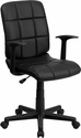 Mid-Back Black Quilted Vinyl Swivel Task Chair with Nylon Arms [GO-1691-1-BK-A-GG]
