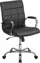Mid-Back Black Vinyl Executive Swivel Office Chair with Chrome Arms [GO-2240-BK-GG]