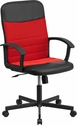 Mid-Back Black Vinyl and Red Mesh Racing Executive Swivel Office Chair [CP-B301A01-BK-RD-GG]