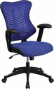 High Back Designer Blue Mesh Executive Swivel Chair with Adjustable Arms [BL-ZP-806-BL-GG]
